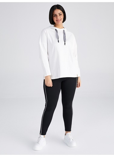 Faik Sönmez  Kapüşonlu Uzun Kollu T-Shirt 61821 Ekru